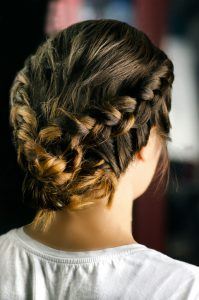 Beautiful coiffure from pigtails